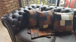 100% Genuine leather patchwork scatter cushions