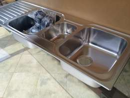 Double Kitchen Sink with Waste Disposal- Brand New