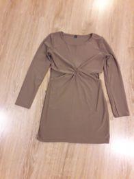 d46509fbf1 Sukienka brąz długi rękaw wycięcia M L