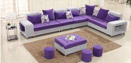Quality L shape Sofa set with 1 center puff and 3 side puffs