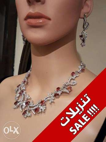 Red Crystal Synthetic Ruby & Zircon - 4 Pieces Luxury Set