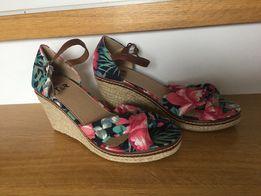 23c333d5 ESPADRYLE sandały damskie NA KOTURNIE platforma kolorowe kwiaty 37