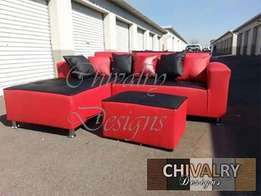 The Red Leather L shaped couch from Chivalry Designs for R3700