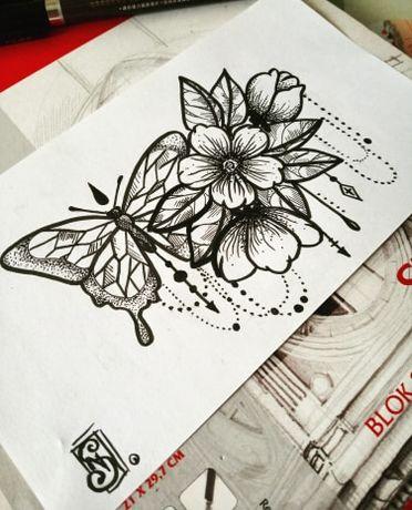 Projekt Tatuażu Motyl I Kwiaty Wiśni Chorzów Olxpl