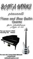 Piano and bass guitar lessons