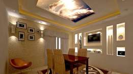 Gypsum board,chandelier,3D strech ceeling,interior design,stair case
