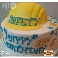 Customize Safety Cup Vanilla Cake Covered With Fondant