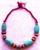 Moroccan style big turquoise bead necklace - 30 cm