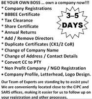 Company registration - BBBEE - Tax Clearance - Share Certificate