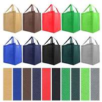 Reusable Reinforced Handle Grocery Tote Bag Large 10 Pack - 10 Color V