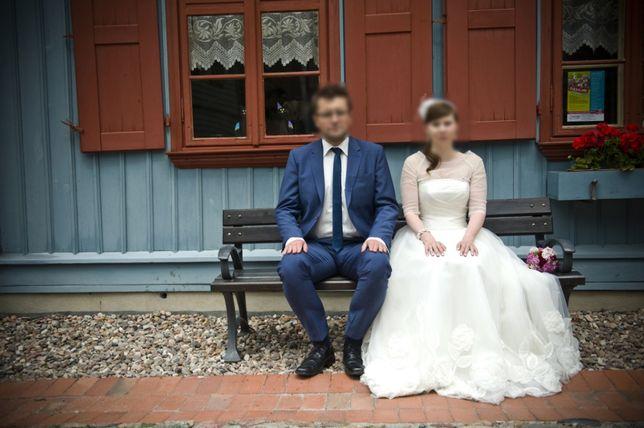 ea6fbae034 Suknia ślubna tara gala duże kwiaty tiul boho Łódź Bałuty • OLX.pl