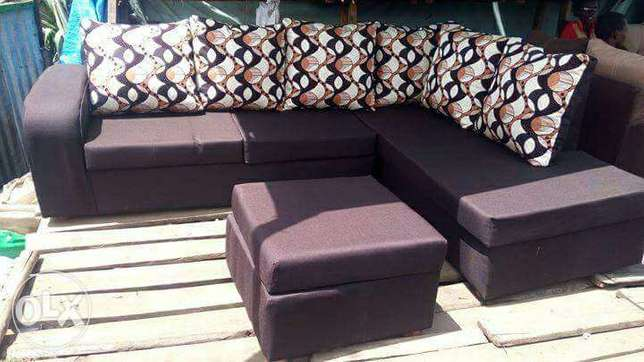 L shape..Corner seat,fibre pillows,high density cushions free delivery Kinoo - image 1