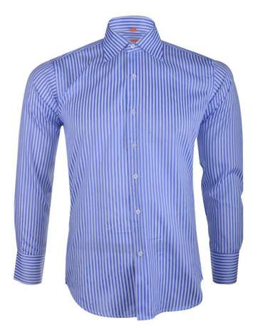 Owen Striped Formal Shirt - White & Blue Kosofe - image 1