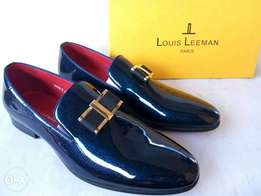 Navy blue Louis Leeman Patent Leather loafers