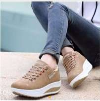 Fashion female sneakers Brown and White