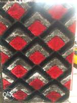 black grey and red design fluffy centre rugs 4 by 6