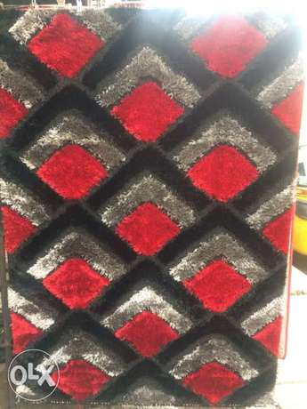 black grey and red design fluffy centre rugs 4 by 6 Itire - image 1