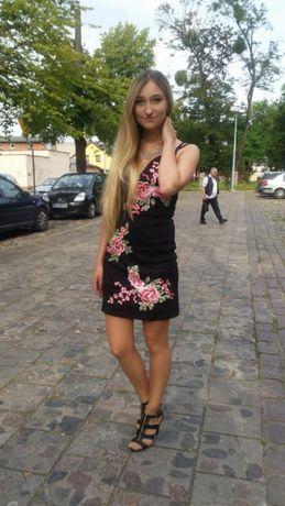 8683ff61 Sukienka s/m kwiaty haftowane róże hit tumblr dopasowana mała czarna ...