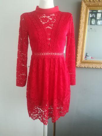 NOWA Koronkowa czerwona sukienka elegancka dlugi rękaw XSS