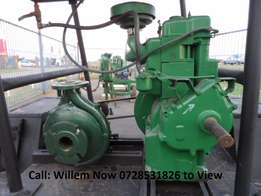 2 Cylinder Lister Diesel Engine with Water Pump on Trailer Priced To G