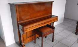 Piano Hoffman Leipzig upright piano with solid steel frame with stool