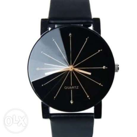 Black Genuine leather quartz wristwatch Ojo - image 6