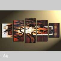 Wood color five pieces sunset paintings