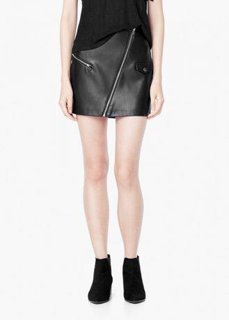 MANGO czarna eko skórzana czarna spódnica mini z zamkiem 42 XL 40 L jak zara