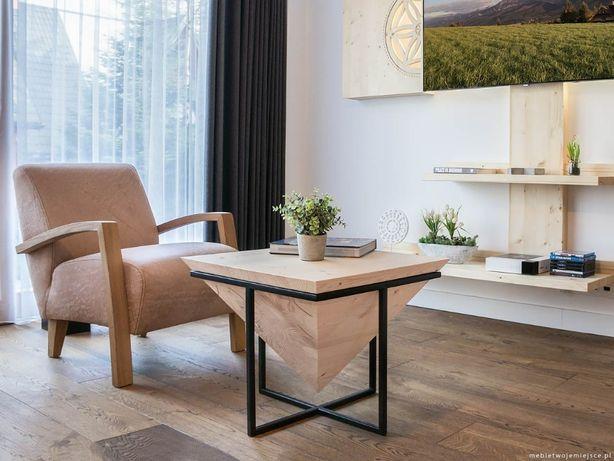 Nowoczesny Stolik Kawowy Drewniany Z Litego Drewna Design Metal Stal