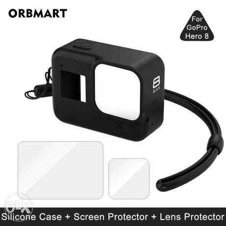 Silicone Case for GoPro Hero 8 Black Tempered Glass Screen Protector P