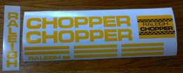 Raleigh chopper Mk1 and MK2 decals stickers sets