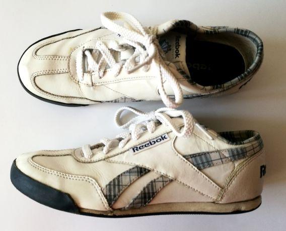Skórzane sportowe buty REEBOK białe Kratka 37 37,5, 24 cm