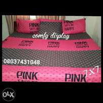 Pink bedsheet with 4 pillowcases 7x7""
