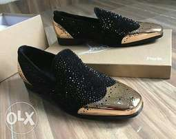 Gold toe Louboutin crystal studs loafers