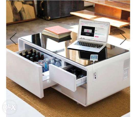 smart coffee table with refrigerator,sound system,charger and touch