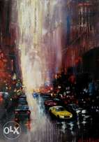 Rainy New York city, oil painting