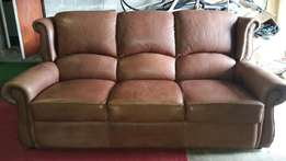 Leather Upmarket Designer 3/4-Seater Studded Couch In Perfect Conditio