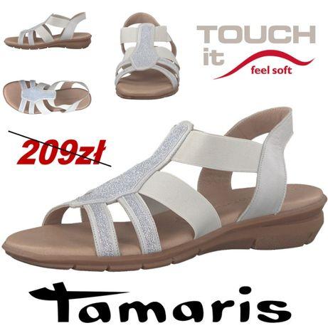 52a771171f122 Sandały Tamaris skóra, comfort, jasnoszare, rozm. 36,37,38,39,40 ...