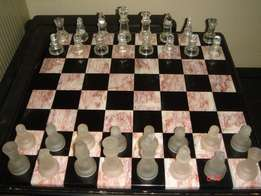 CHESS, solid granite top in wooden frame with glass figures, perfect c