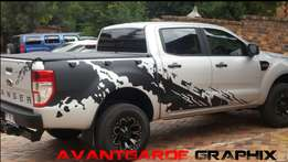 Silver grey Ford ranger stickers