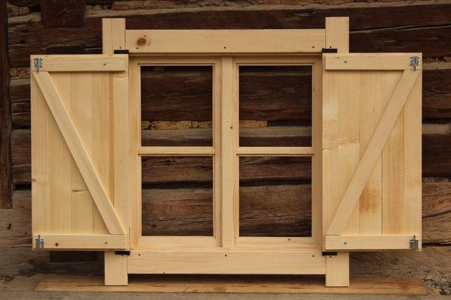 Okno Drewniane Skrzynkowe Z Okiennica Domek Altana Wiata