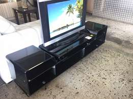 Black glass plasma tv stand