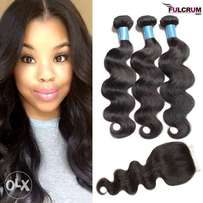 "Brazilian n peruvian 16"" with free closure R2199"