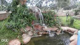 Water fountain, ponds, swimming pool, aquascape water features