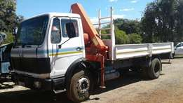 Mercedes Benz 1417 , 6 1/2 ton meter crane, dropside body
