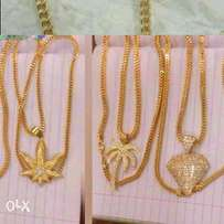 Pure solid 18karat chain an pendat gold for