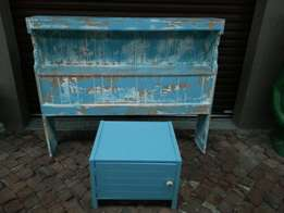 Old rystic three quarter headboard and bedside cabinet