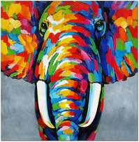 Multicolored elephant painting