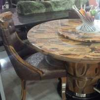 Round marble dining table with 6 solid chairs