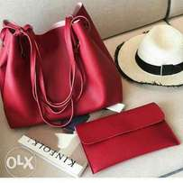 2 in 1 red tote bag